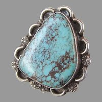 SIGNED Native American Turquoise & Sterling Silver RING