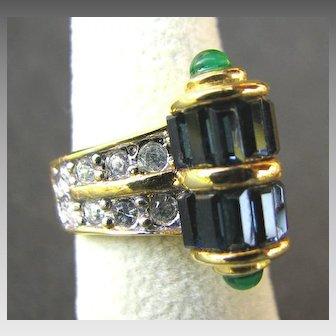 Elegant Joseph Esposito Art Deco Style Cocktail Ring MINT
