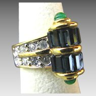 Elegant Joseph Esposito Art Deco Style Cocktail Ring MINT
