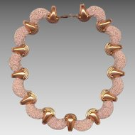 RARE MATISSE Pink Granulated Glass on Copper Necklace