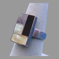 Modernist Sterling Silver, Mother of Pearl, Black Mother of Pearl, Onyx Mosaic Ring