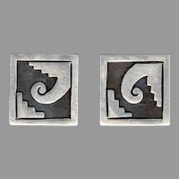 Signed RANCHO ALEGRE Taxco Modernist Style Sterling Silver Cufflinks