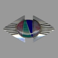 Signed NATIVE AMERICAN Sterling & Multicolored Stone Inlay Pin