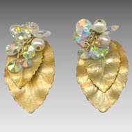 Elegant HOBE Gold Tone Leaves, Aurora Borealis Crystals & Faux Pearl Clip Back Earrings