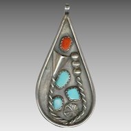Charming Native American Silver, Turquoise & Coral Teardrop Shaped Pendant
