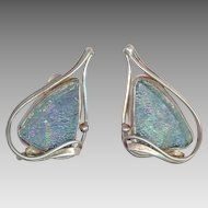 Modernist Sterling Silver & Iridescent Glass Clip Back Earrings