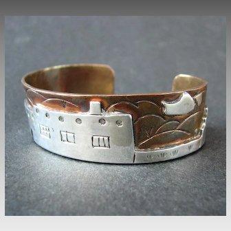 Folk Art Style Mixed Metal (Copper & Silver) Native American Cuff Bracelet