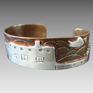 Folk Art Style Mixed Metal (Copper & Silver) Native American Cuff Bracelet