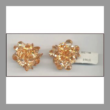 Apricot Rhinestone NEIMAN MARCUS Clip Back Earrings