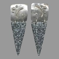 Too Cool MODERNIST Sterling Silver & Plastic Earrings
