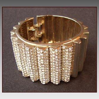 HUGE Pave Rhinestone Hinged Cuff Bracelet