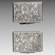 Exquisitely and Intricately Engraved Sterling Silver Cufflinks JAPAN
