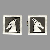 Elegant Signed A SPINOSA Sterling Silver Mexico Cufflinks