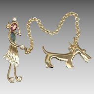 Amusing CORO Lady Walking a Dog Chatelaine Style Pins
