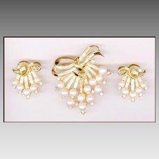 Trifari Faux Pearl & Rhinestone Brooch & Earring Set