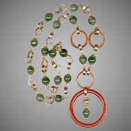 Elegant Two Tone Jade Necklace