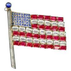 Baguette Rhinestone Pot Metal American Flag Pin