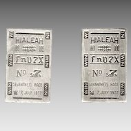 Novelty HIALEAH RACETRACK Ticket Cufflinks