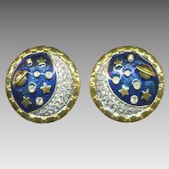 SWAROVSKI Rhinestone & Blue Enamel Saturn & Stars Earrings