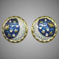 SWAROVSKI Rhinestone & Blue Enamel Saturn & Stars Earrings