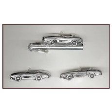 Too Cool SWANK Sports Car Cufflinks & Tie Clip Silver Tone