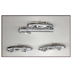 Too Cool SWANK Sports Car Cufflinks & Tie Clip Silver Tone