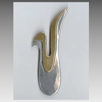 Cool MODERNIST Mixed Metal Sterling Silver & Brass Abstract Dove Pin