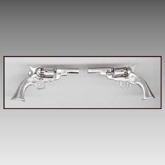 ANSON Silver Tone Percussion Revolver Gun Cufflinks