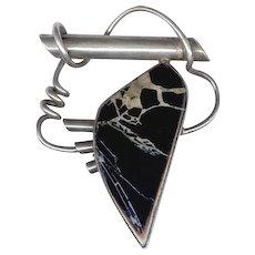 Elegant Modernist Sterling Silver & Onyx Pin