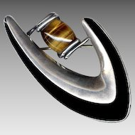 Sigi Pineda Modernist Sterling Silver & Tiger's Eye Pin