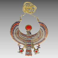 Huge MultiColor Enamel Egyptian Horus Pendant Necklace