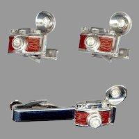 Too Cool Swank Vintage Flash Camera Cufflinks & Tie Clip Set