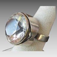 HUGE Kaunis Koru Finland Faceted Rock Crystal Sterling Silver Ring