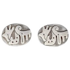 Signed TAXCO Sterling Silver Cufflinks Stylized Rooster