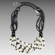 Bold MONIES Multi-Strand Black & White Necklace