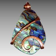 Spectacular Iridescent Abalone Shell & Hand Wrought Copper Pendant