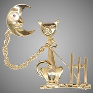 Novelty Cat & Crescent Moon Chatelaine Style Pins