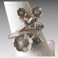 Elegant Sterling Silver Flowering Branch Ring, London Maker 1974
