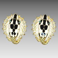 Fabulous Black & White Enameled Snake Head Clip Back Earrings