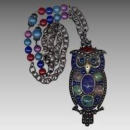 Too Cool Huge Multi-Color Owl Pin / Pendant