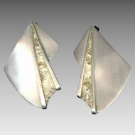 Modernist Signed Sterling Silver Earrings Pierced Ears