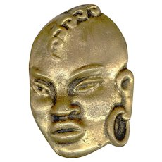 Heavyweight Cast Brass Ethnic Tribal Warrior Face Pin