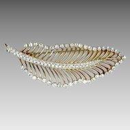 Elegant Trifari Gold Tone & Rhinestone Leaf Pin 3+ inch
