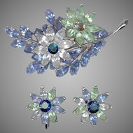Gorgeous TRIFARI Multi-color Rhinestone Flower Pin & Clip Back Earrings Set