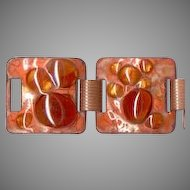 Eye-Popping Orange Enamel on Copper Bracelet With Glass Cookies
