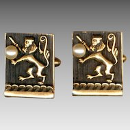 Elegant SWANK Gold & Black Rampant Lion with Faux Pearl Cufflinks