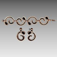 Modernist REBAJES Copper Bracelet & Screw Back Earrings Set