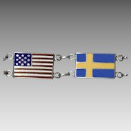Colorful Enamel on Sterling Silver Swedish & US Flags Bracelet