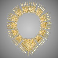 MONET Etruscan Revival Gold Tone Bib Necklace
