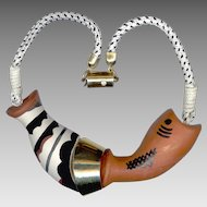 Rare Ugo Correani Italy Ceramic Fish Necklace 1980's